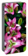 Pink And White Lilies Portable Battery Charger