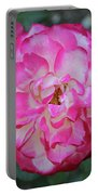 Pink And White Rose Square Portable Battery Charger