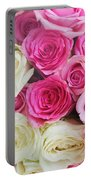 Pink And White Roses Bunch Portable Battery Charger