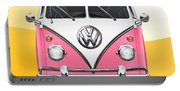 Pink And White Volkswagen T 1 Samba Bus On Yellow Portable Battery Charger