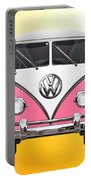 Pink And White Volkswagen T 1 Samba Bus On Yellow Portable Battery Charger by Serge Averbukh