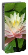 Pink And White Water Lily Portable Battery Charger