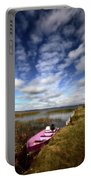 Pink Boat In Scenic Saskatchewan Portable Battery Charger