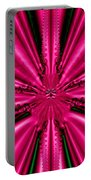Pink Brocade Fabric Fractal 55 Portable Battery Charger