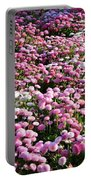 Pink Button Pom Flowers Portable Battery Charger