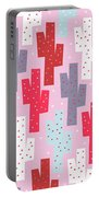 Pink Cactus Pattern Portable Battery Charger