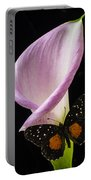 Pink Calla Lily With Butterfly Portable Battery Charger