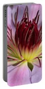 Pink Clematis Closeup Portable Battery Charger
