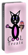 Pink Cool Treats - Cat Typography Portable Battery Charger