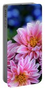 Pink Dahlias On Lobelia Portable Battery Charger