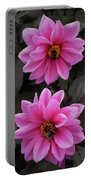 Pink Dahlias With Bees Portable Battery Charger