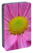 Pink Daisy With Raindrops Portable Battery Charger