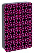 Pink Dots Pattern On Black Portable Battery Charger