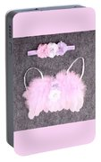 Pink Feather Angel Wings With White-violet Flowers And Headband Portable Battery Charger
