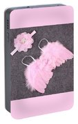 Pink Feather Baby Girl Angel Wings With Flower Lace Headband Portable Battery Charger