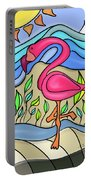 Pink Flamingo Glassy Portable Battery Charger