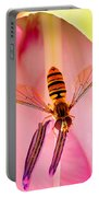 Pink Flower Fly Portable Battery Charger