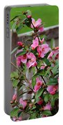 Pink Flowers By The Bench Portable Battery Charger