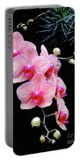 Pink Flowers Pink Vein Black Background Portable Battery Charger