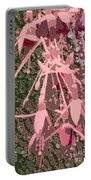 Pink Fuschia Against Tree Bark Portable Battery Charger