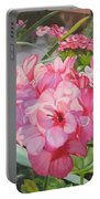 Pink Geraniums Portable Battery Charger by Lea Novak