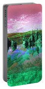 Pink Green Waterscape - Fantasy Artwork Portable Battery Charger