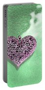 Pink Heart On Frosted Glass Portable Battery Charger