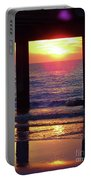 Pink Heart Sun Flare Clearwater Sunset Portable Battery Charger
