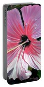 Pink Hibiscus With Raindrops Portable Battery Charger