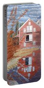 Pink House In Autumn Portable Battery Charger