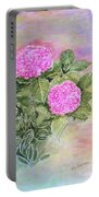 Pink Hydrangeas And Hostas Portable Battery Charger