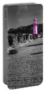 Pink Lighthouse Of St Ives Portable Battery Charger