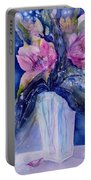 Pink Lilies In Vase Portable Battery Charger