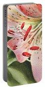 Pink Lily Close Up Portable Battery Charger