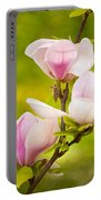 Pink Magnolia Triptych Portable Battery Charger