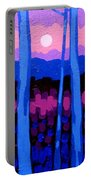 Pink Moon Portable Battery Charger by John  Nolan