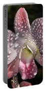 Pink Orchid And Dewdrops 013 Portable Battery Charger