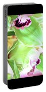 Pink Orchid With Green 1 Portable Battery Charger
