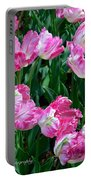 Pink Parrot Tulip Garden Portable Battery Charger