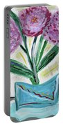 Pink Peonies-gray Table Portable Battery Charger