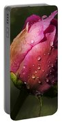 Pink Peony Bud With Dew Drops Portable Battery Charger