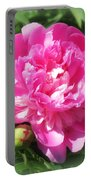 Pink Peony On Green Portable Battery Charger