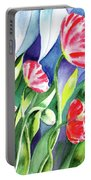Pink Poppies Batik Style Portable Battery Charger
