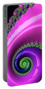 Pink Purple And Green Fractal Spiral Portable Battery Charger