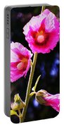 Pink Red Flower Portable Battery Charger