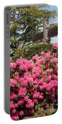 Pink Rhododendrons With Totem Pole Portable Battery Charger