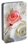 Pink Rose Among White Roses Portable Battery Charger