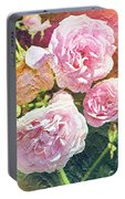 Pink Rose Artwork Portable Battery Charger