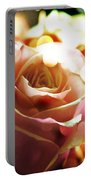 Pink Rose In Sparkling Lights Portable Battery Charger