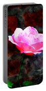 Pink Rose On Red Brick Wall Portable Battery Charger